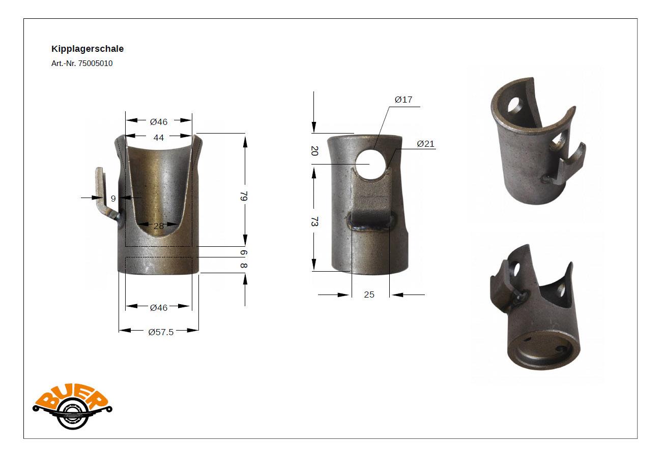 16 mm 60mm Kipplager vorne mit Sicherungsbolzen