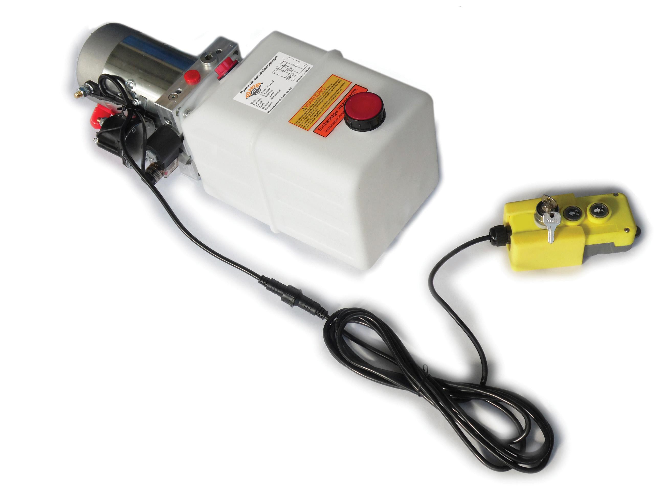 Hydraulikaggregat Hydraulikpumpe 12 V 180 bar 2000 Watt mit 7 Liter Tank